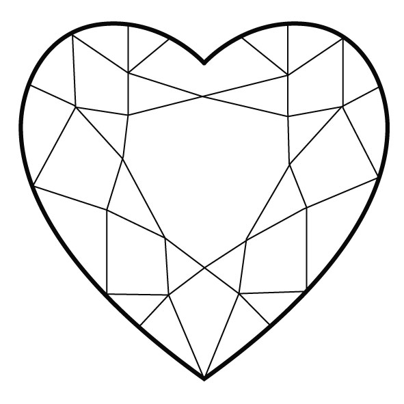Line Drawing Diamond : Heart shape clipart best
