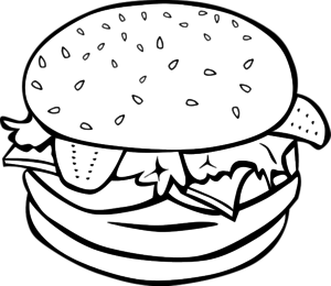 cheese burger sandwich outline for fast food menu - vector ...