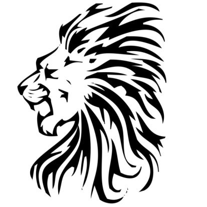 Black and white lion design clipart best for Black and white lion tattoo