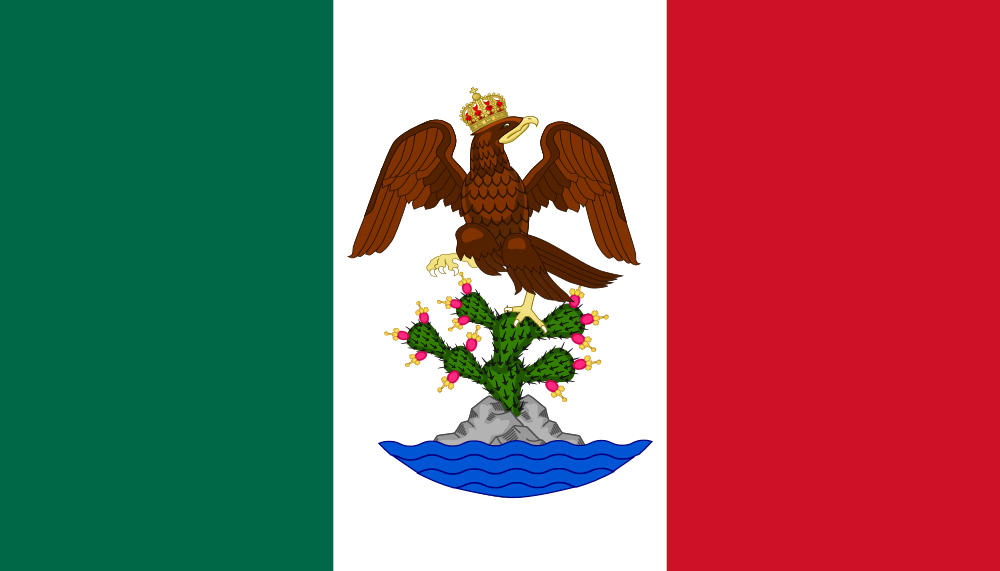 Flag of the First Mexican Empire — no snake on this one, but the ...