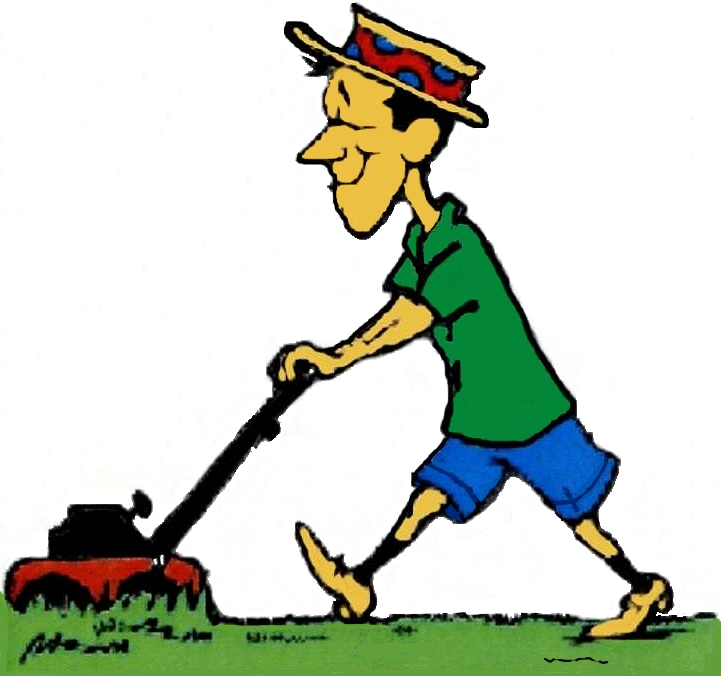 Images Of Cartoon Mowing The Grass - ClipArt Best