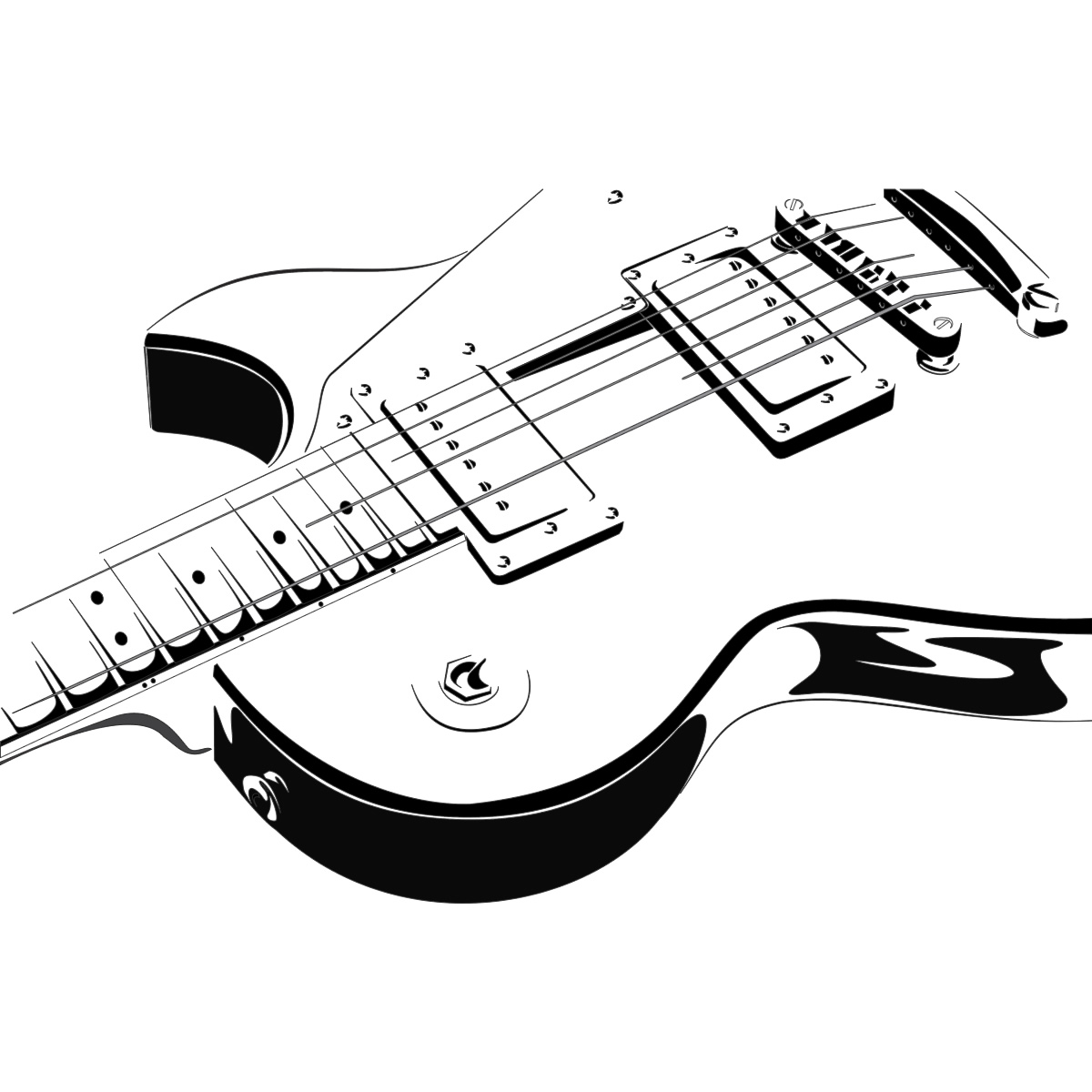 Line Drawing Guitar : Guitar line drawing clipart best