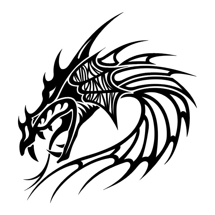 Line Drawing Dragon Tattoo : Tribal japanese dragon tattoo clipart best
