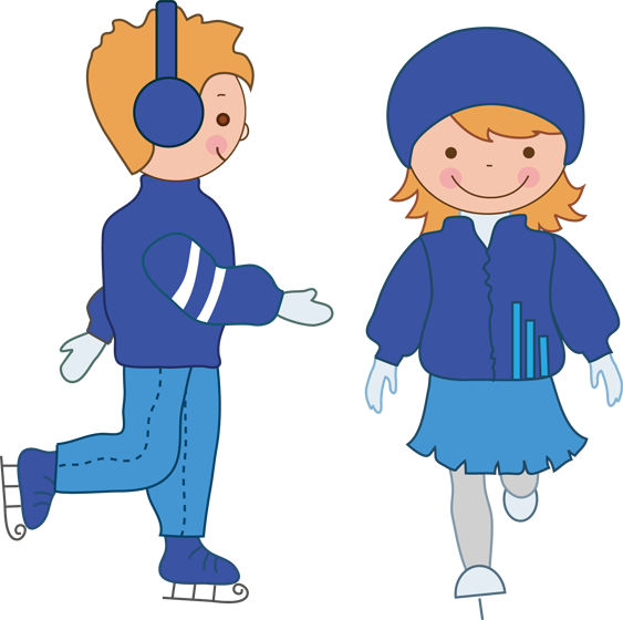 Children Ice Skating Clipart Gif · boy and girl ice skating