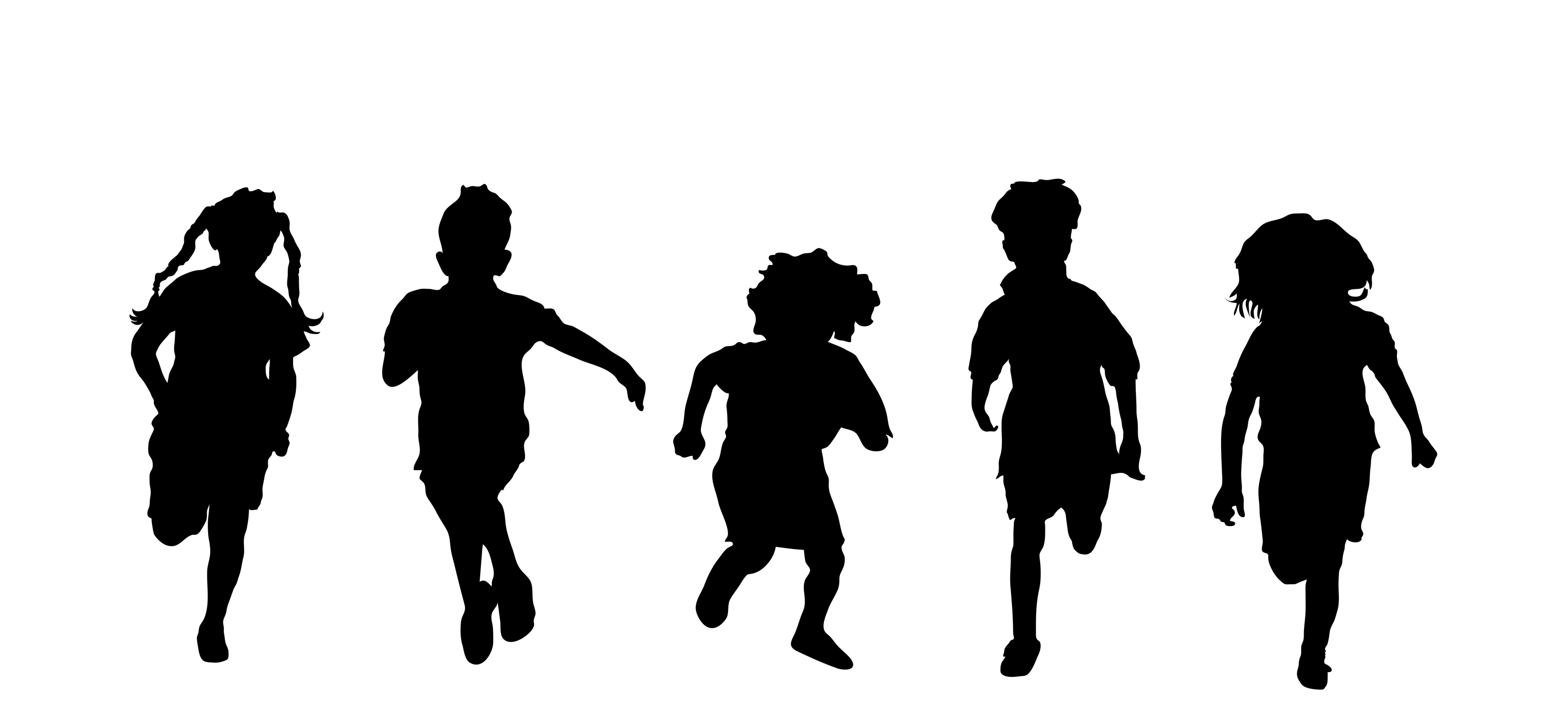 Clipart silhouette child playing