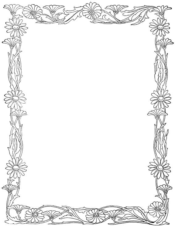 coloring pages flower borders - photo#6