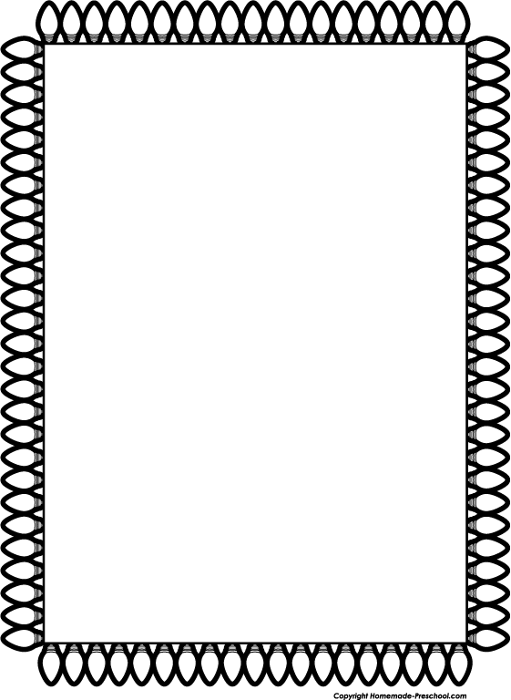 Christmas Clip Art – Black And White Border – Happy Holidays!
