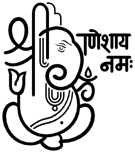 shree ganesh name logo drawing