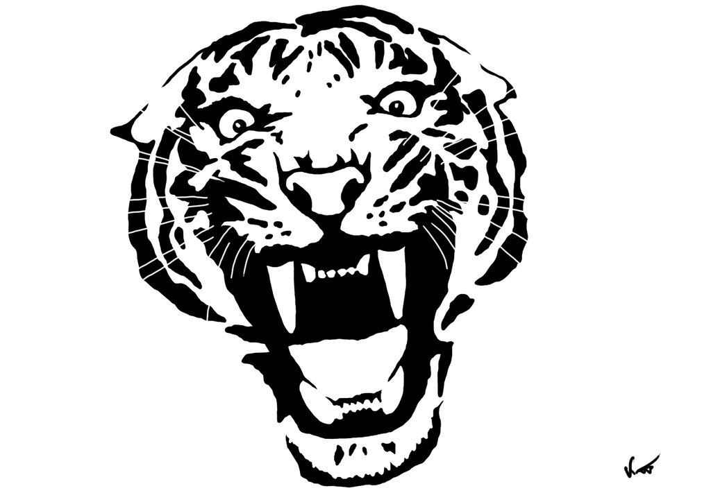 Line Drawing Of A Tiger S Face : Tiger line drawing clipart best