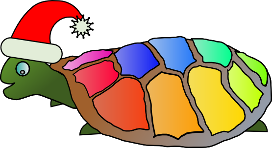 Clip Art: funny turtle with santa hat xmas ...