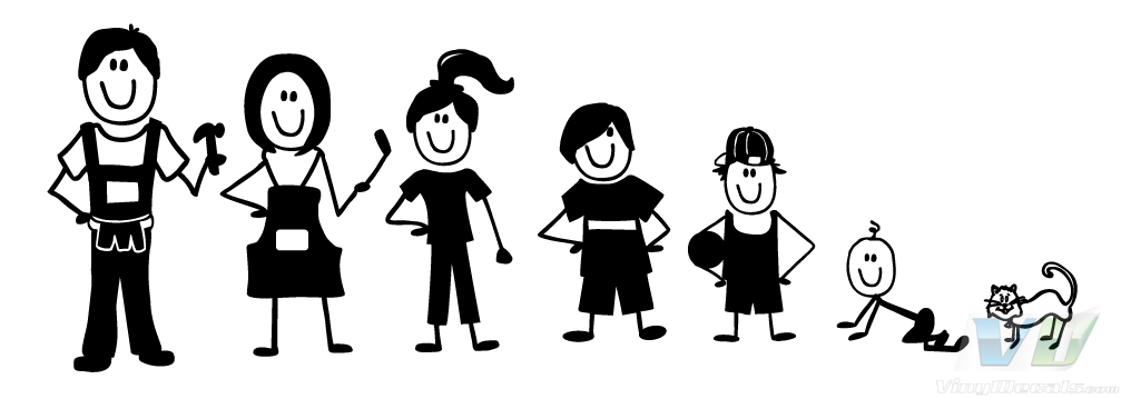 family of 5 stick figures and a dog clipart best