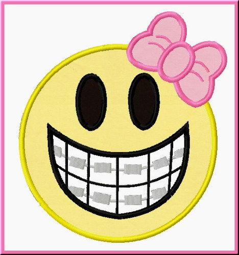Smiley face with braces and bow embroidery machine applique design