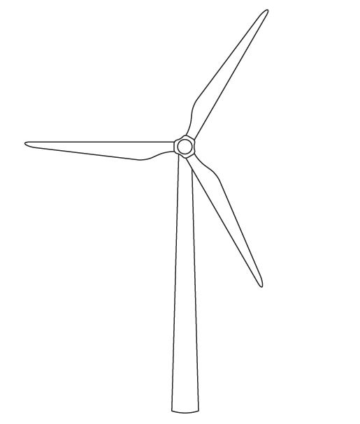 Line Drawing Windmill : Wind turbine black and white clipart best