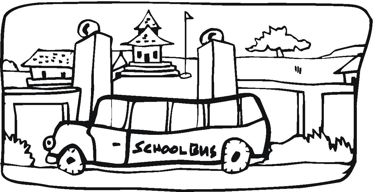 School Bus Drawing School Bus in The Town
