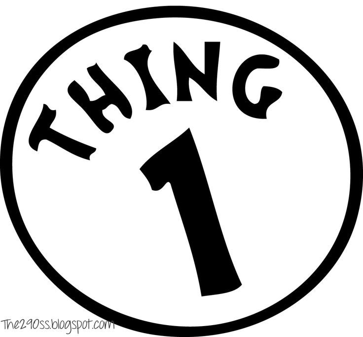 graphic regarding Thing 1 and Thing 2 Free Printable Template titled Point 1 Printable Impression - ClipArt Perfect