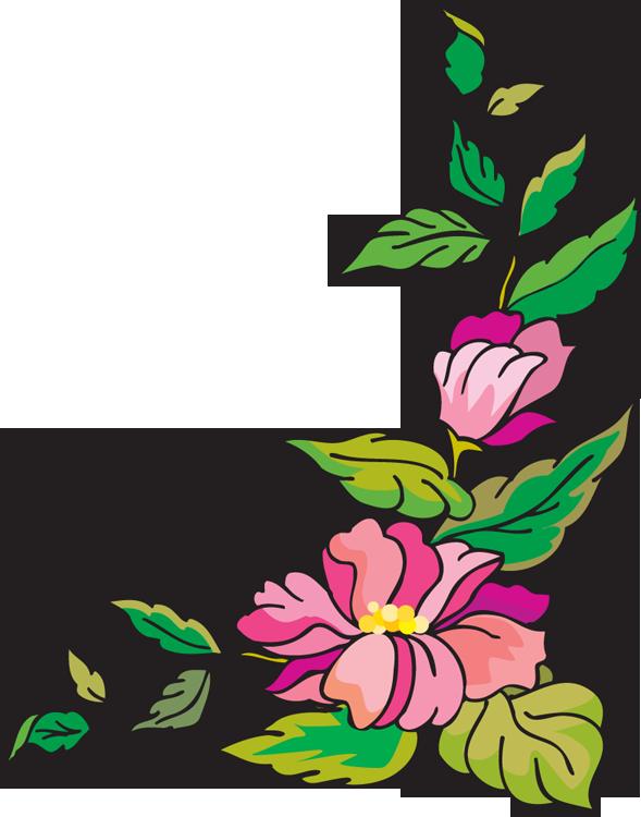 Line Art Flower Corner : Flower clipart border best