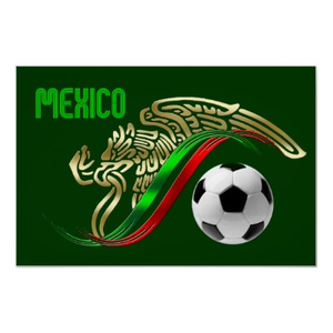 Mexico Futbol Soccer Eagle And Snake Mexican Flag Poster ...