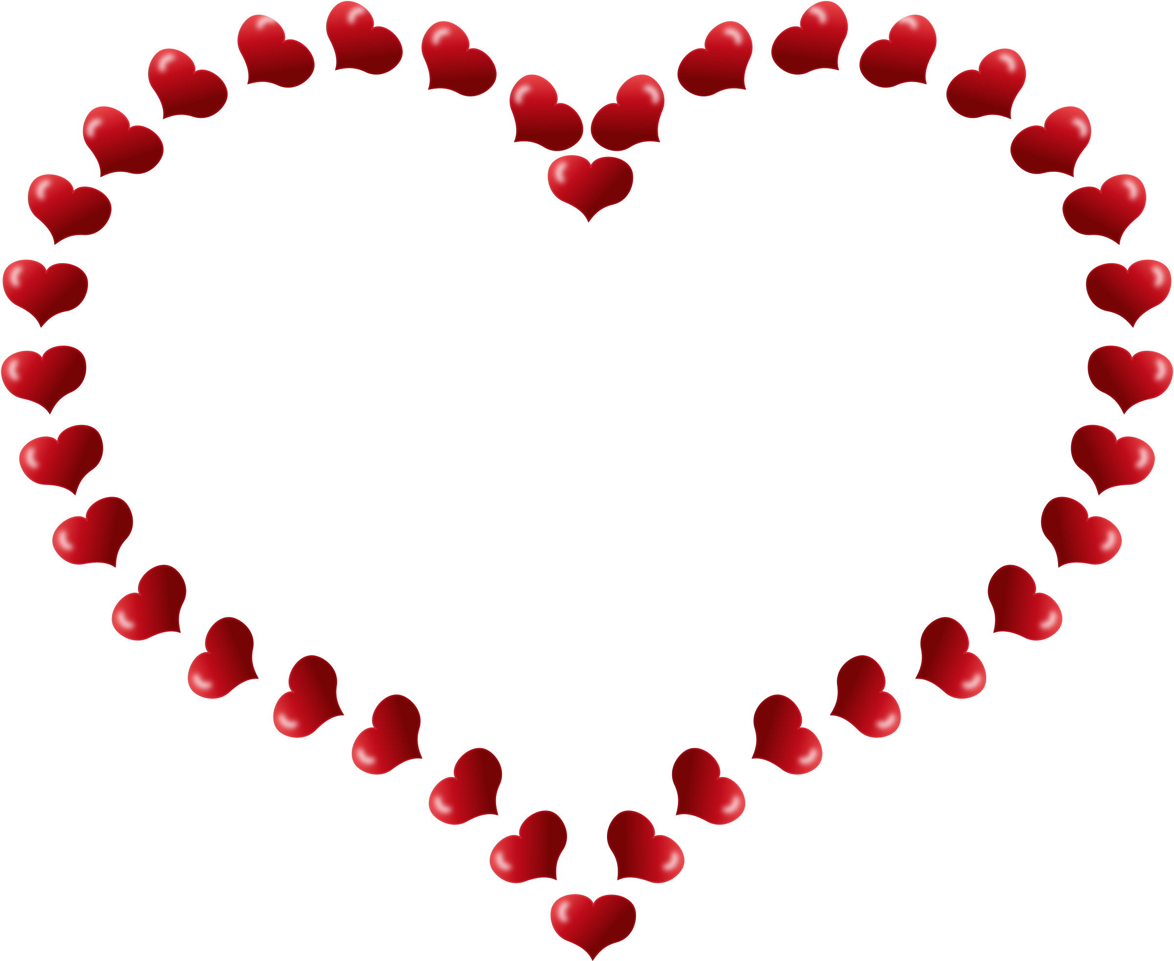 Clipart - Red Heart Shaped Border with Little Hearts