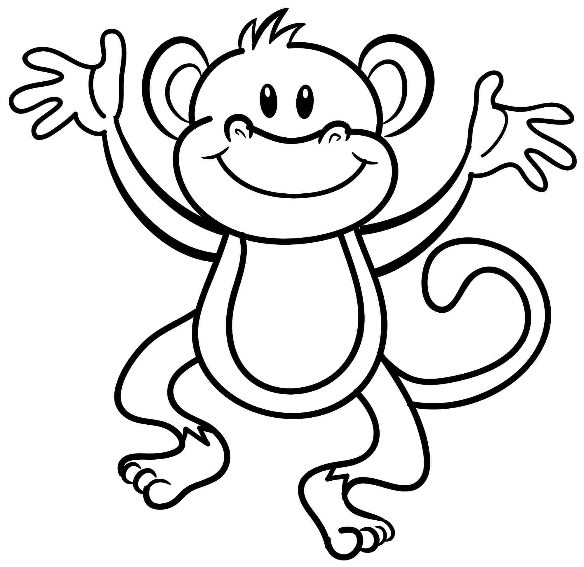 Colouring Monkey Clipart Best Free Printable Monkey Coloring Pages