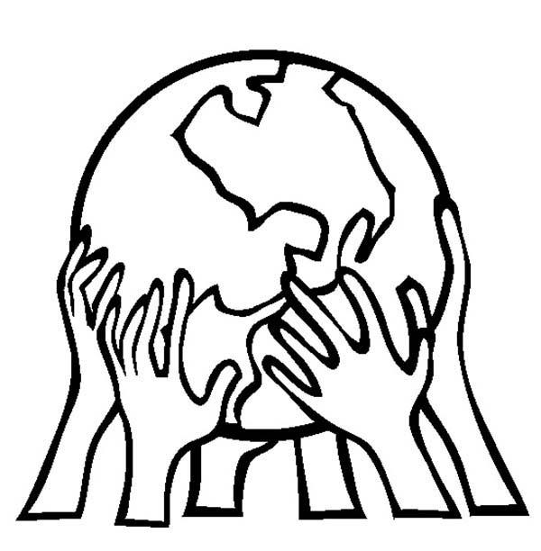 Руки держат земной шар раскраски
