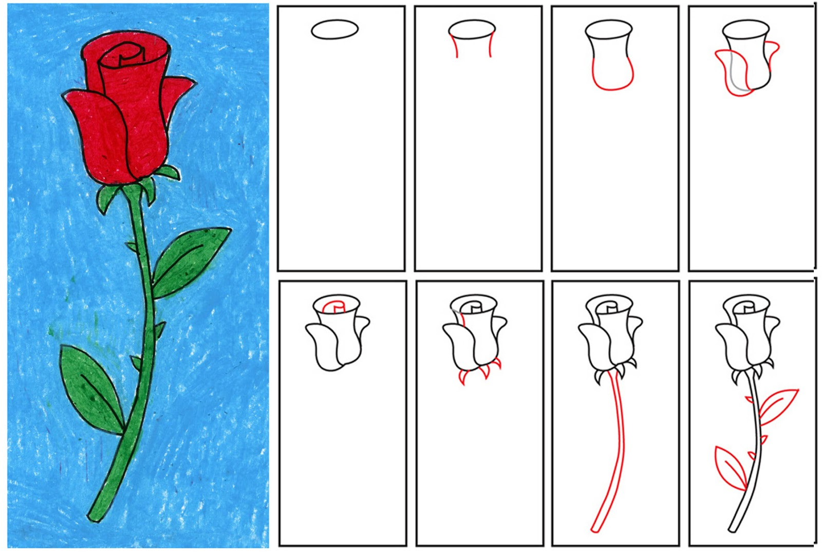how to draw a rose step by step for kids easy clipart best