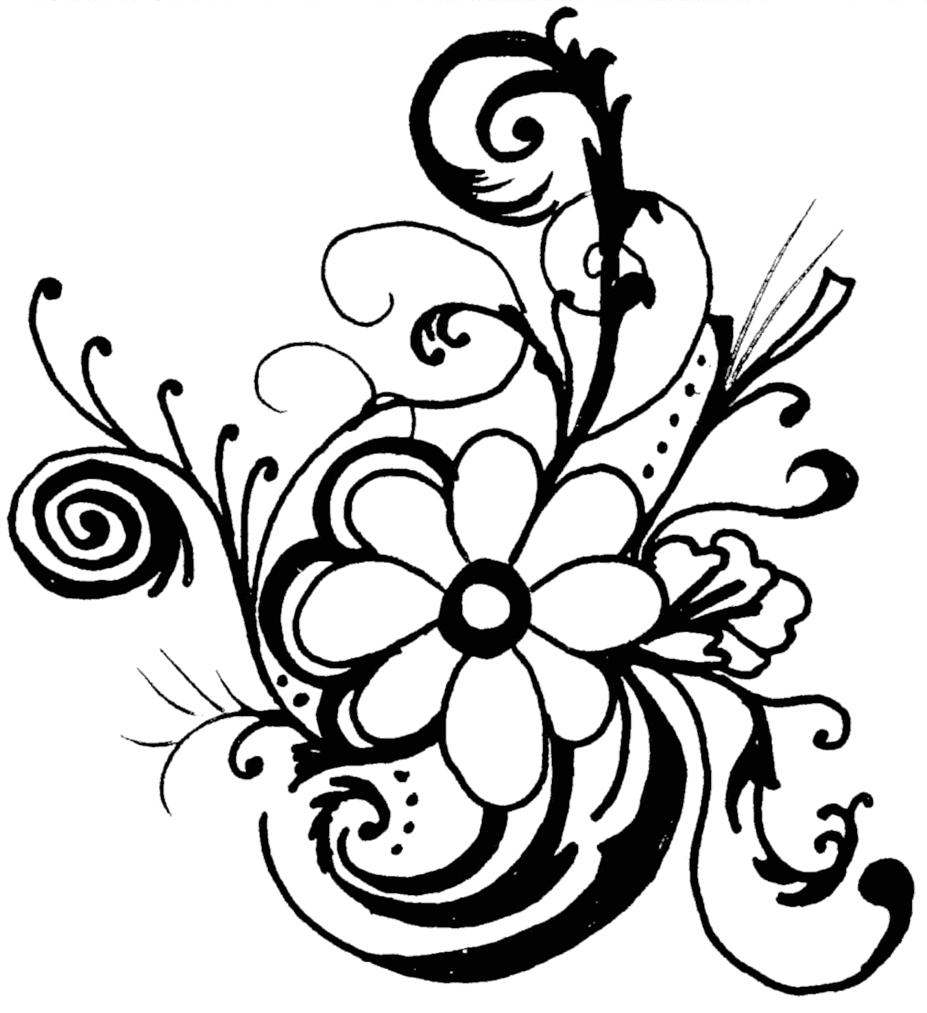 Line Art Clipart : Line drawings flower clipart best