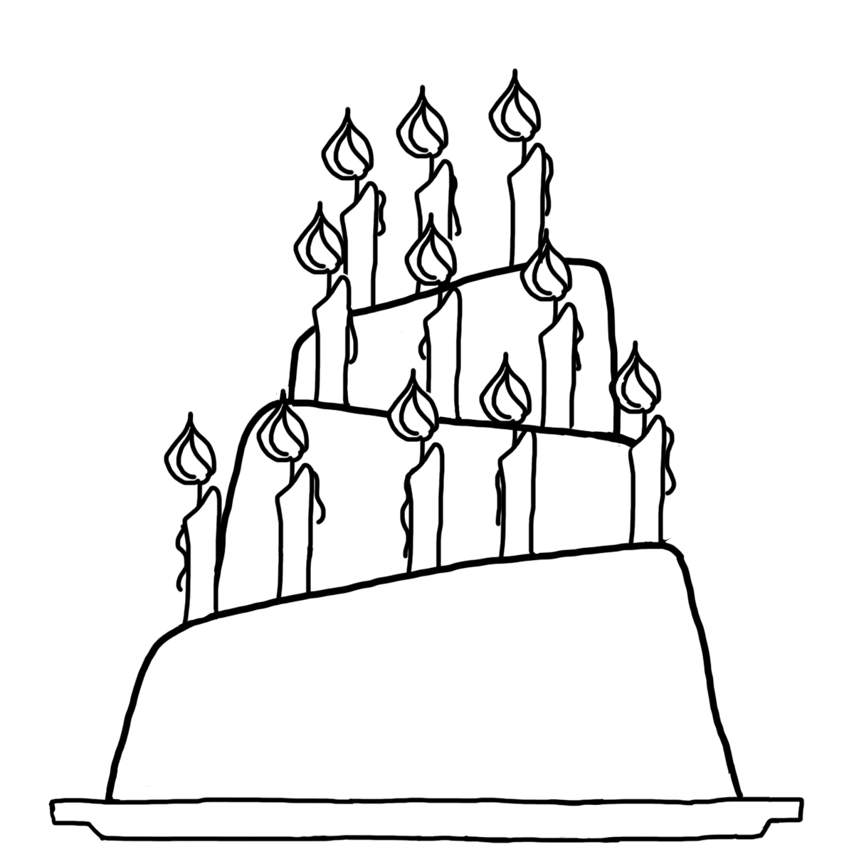 Birthday Cake- Line Drawing - ClipArt Best