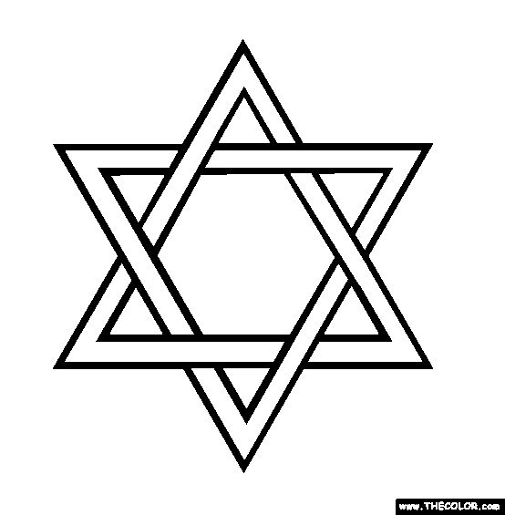 David star jewish coloring clipart best for Star of david coloring page