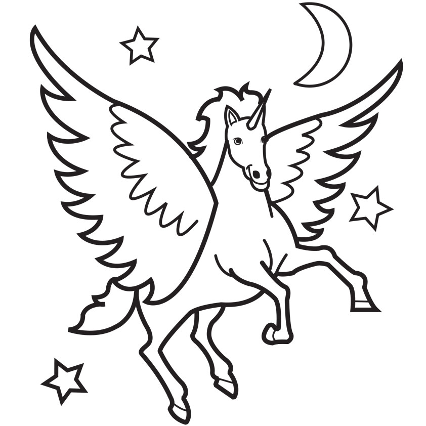 Unicorn Coloring Book : Flying unicorn coloring pages clipart best