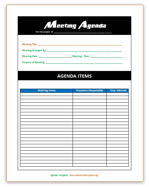 templates for minutes of meetings and agendas