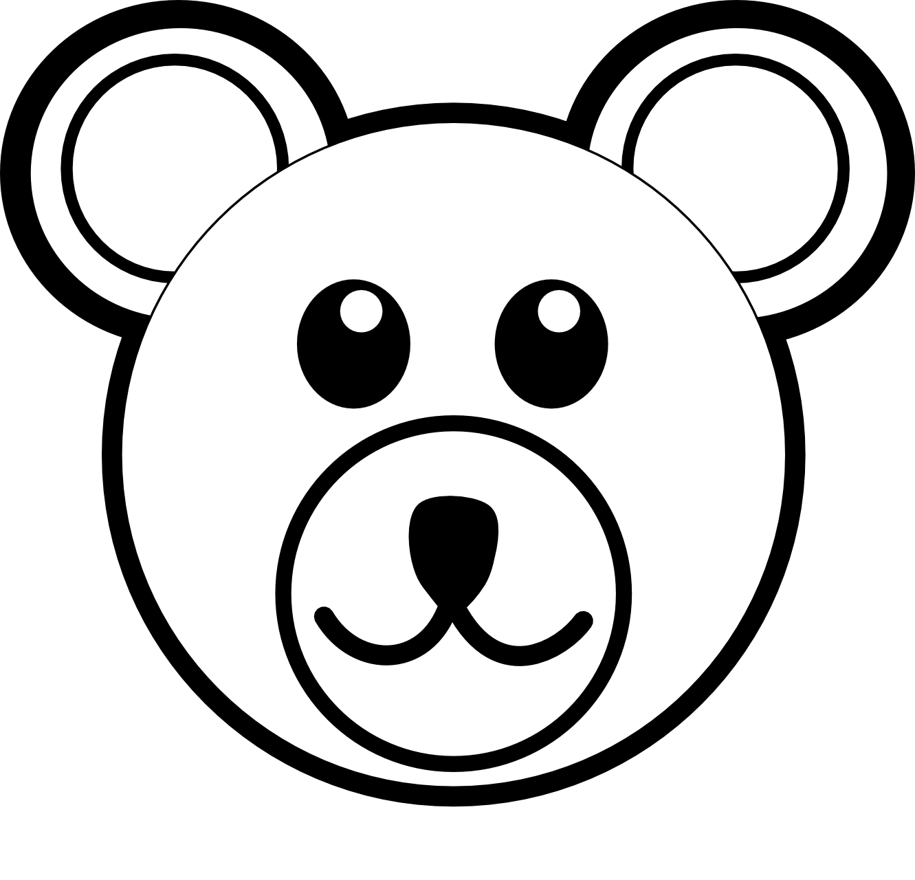 Clip Art: Bear 3 Head Brown Black White Line Art ... - ClipArt Best ...