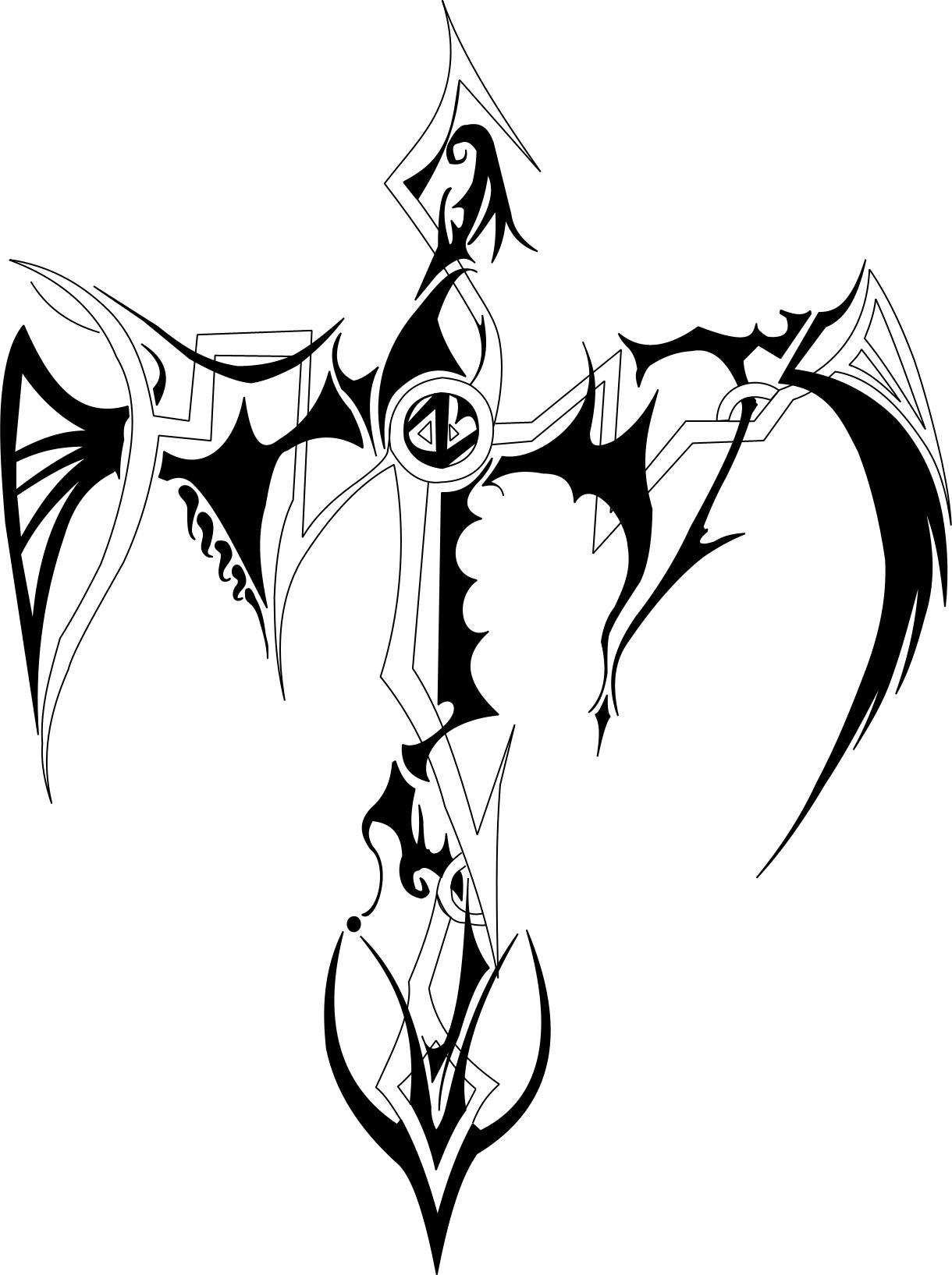 Simple Tribal Cross Tattoos