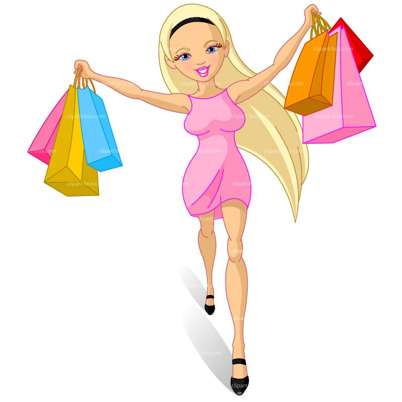 Lady with shopping bags clipart for Pesce rosso butterfly