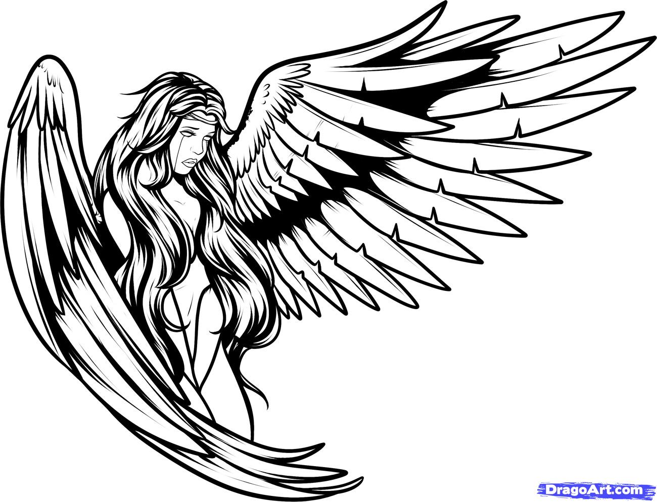 Line Drawing Name Designs : Angel line drawing clipart best