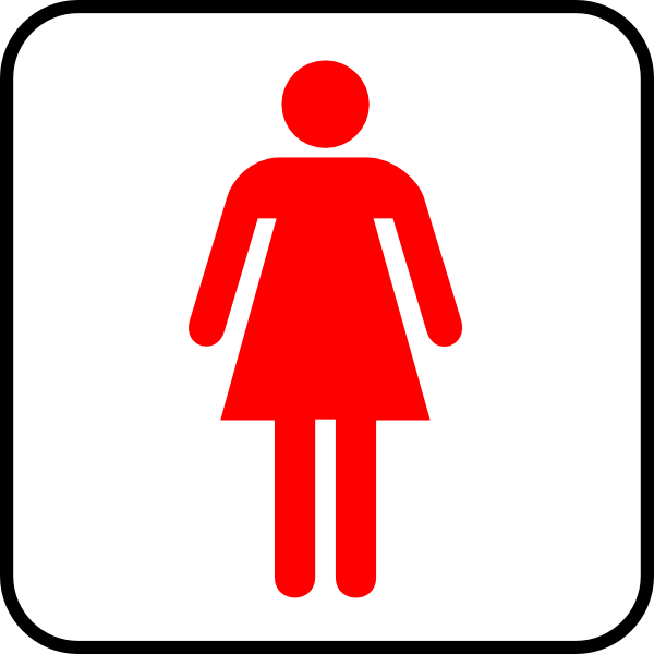 Female Red Border Wc Clip Art - vector clip art ...