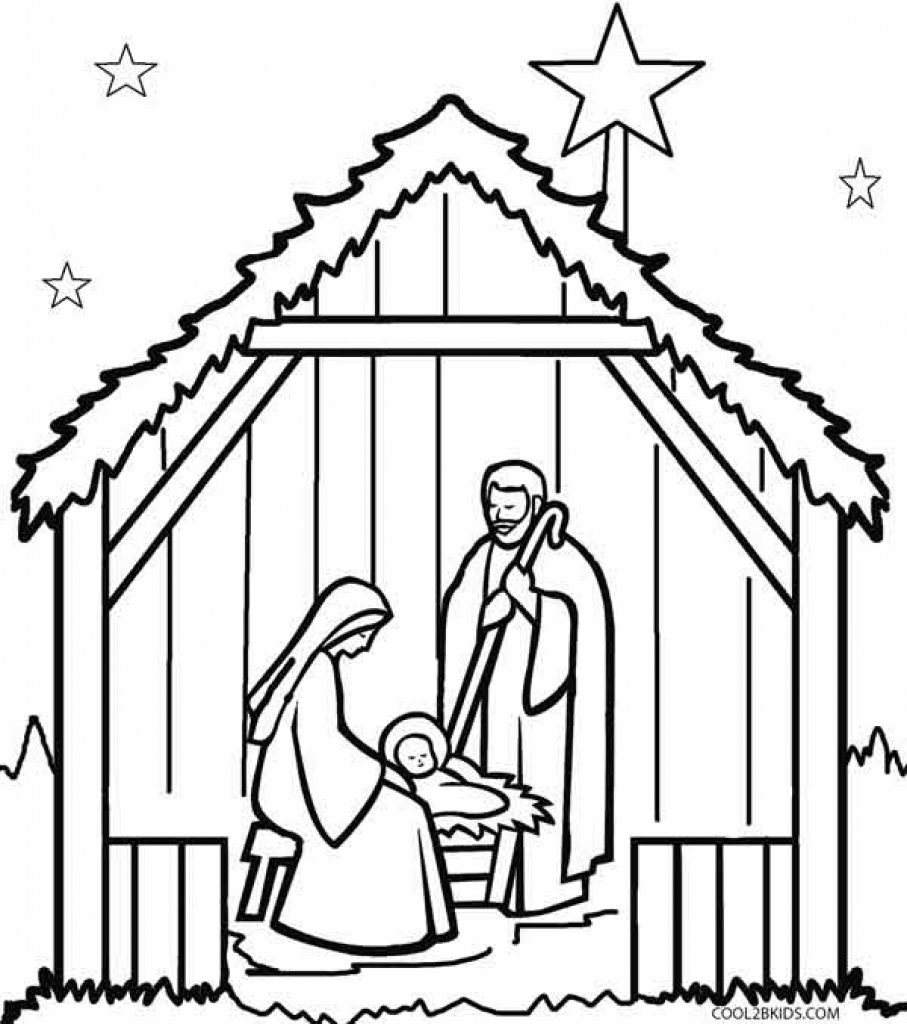Manger scene coloring clipart best for Nativity scene coloring pages printable