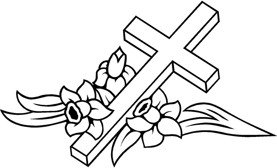 Cross with flower drawings clipart best for Coloring pages of crosses and roses