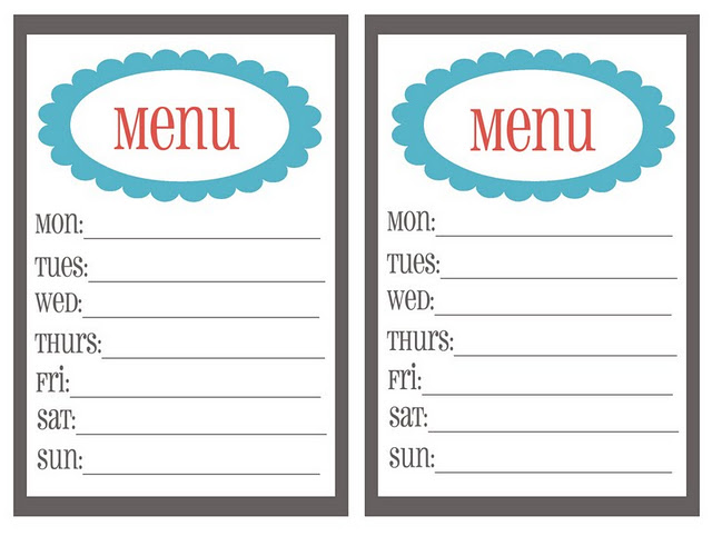 Free Menu Planning Templates - ClipArt Best