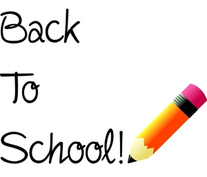 Back To School Clipart Image - Back To School Text With A Pencil