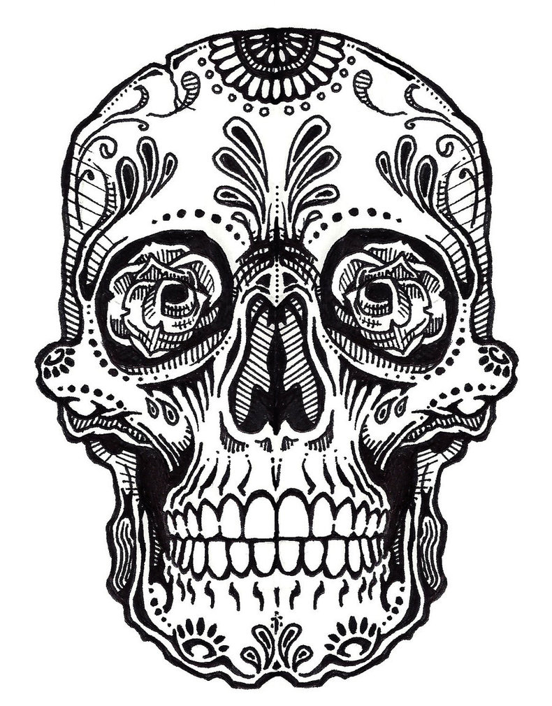 Skull Line Drawing Tattoo : Sugar skull drawings clipart best