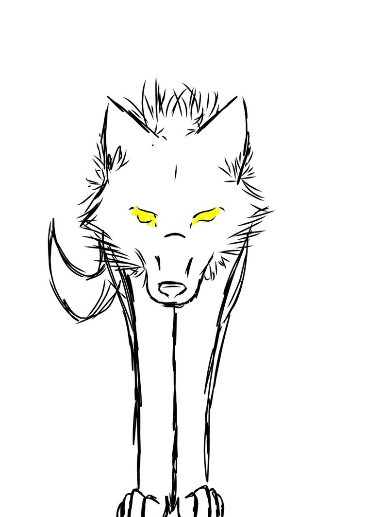Simple Wolf Lineart : Simple wolf sketches clipart best