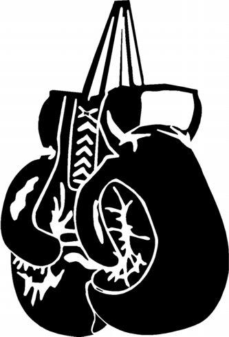 boxing gloves black and white clip art