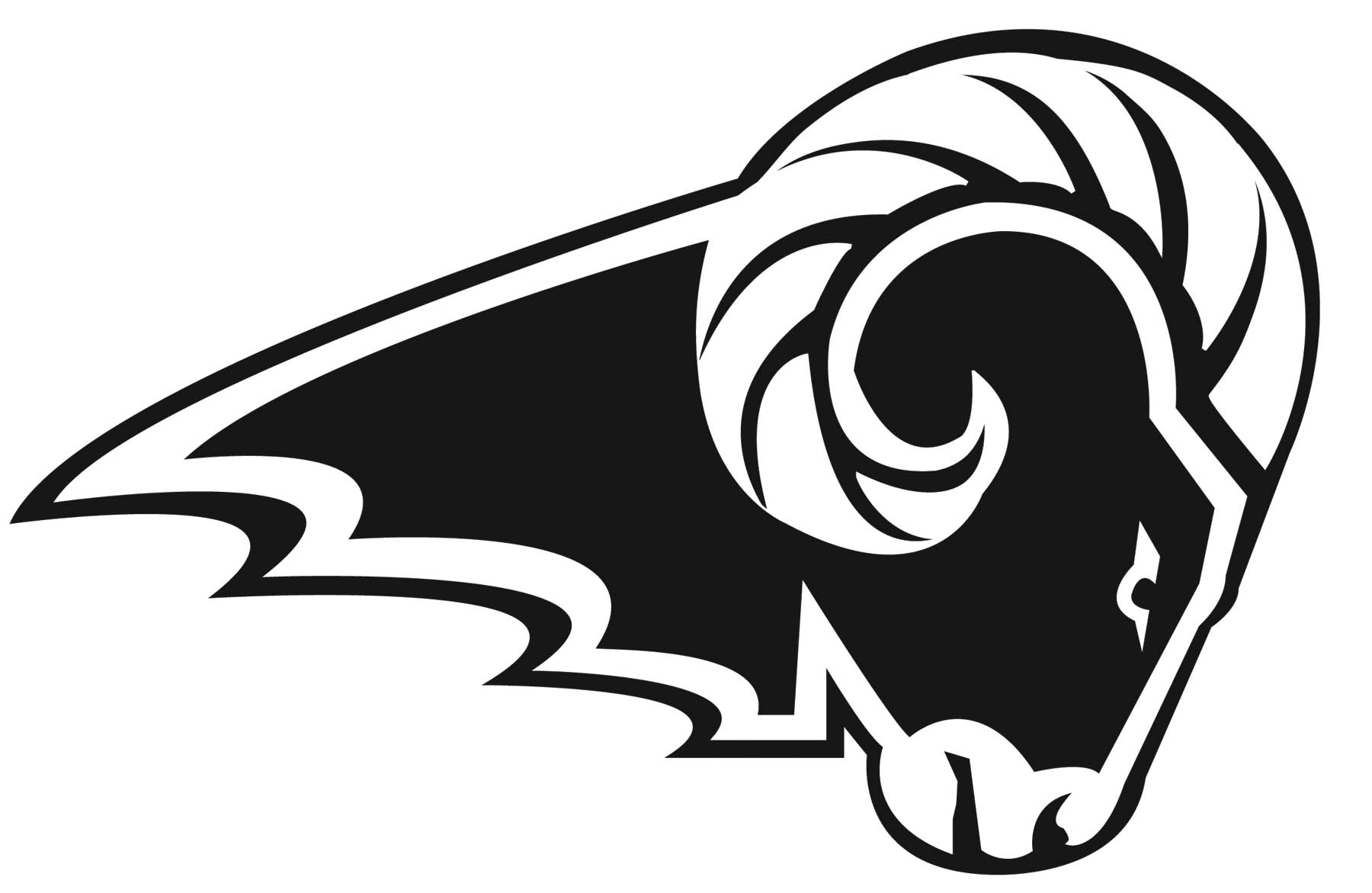 Ram head clipart black and white
