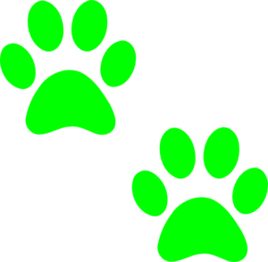 Green Paw Prints clip art - vector clip art online, royalty free ...