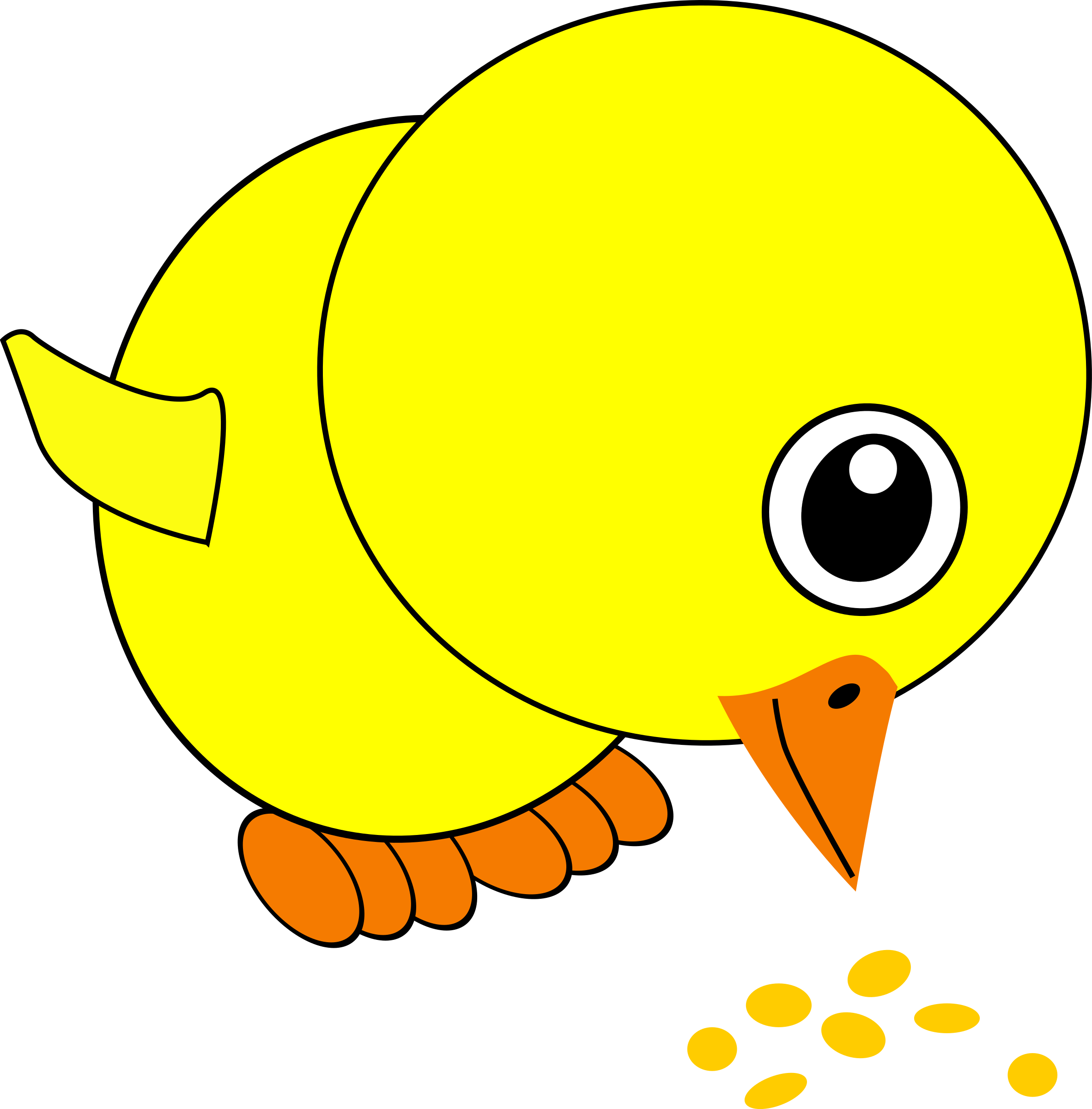 Clipart - Funny Chick Eating Bird Seed Cartoon