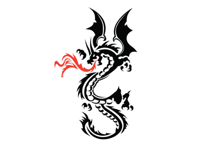Red Fire Breathing Dragon Patch Legend Fantasy Fly