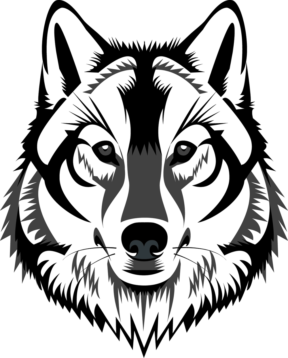 Line Drawing Wolf : Wolf head drawings clipart best