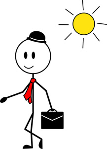 Stick Figure Cartoon Clipart Image - Happy Man Going to Work on a ...