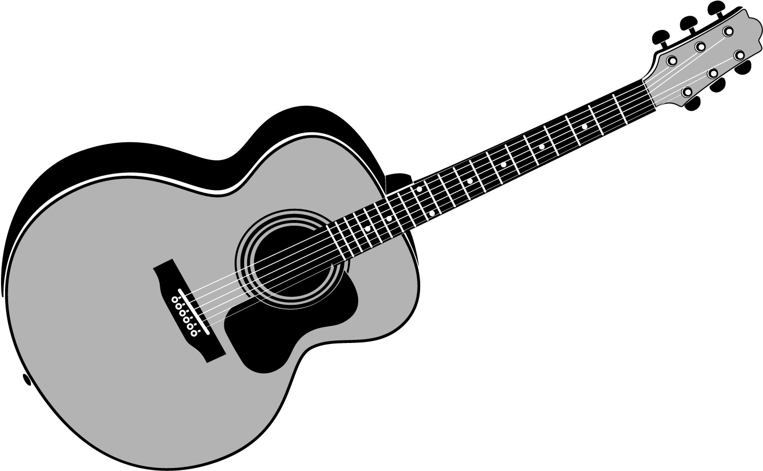 Acoustic Guitar Clip Art Black And White - ClipArt Best
