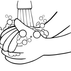 Wash Your Hands Coloring Image